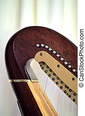 Pedal harp neck tuning mechanisms closeup - Closeup of the...