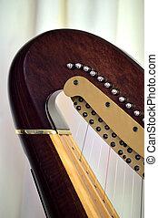 Pedal harp neck tuning mechanisms closeup - Closeup of the...