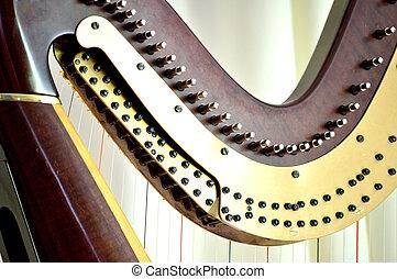 Pedal harp tuning mechanisms closeup - Closeup of the...