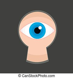 Eye in keyhole color flat vector illustration, teaser spying...