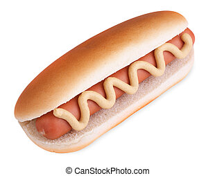 Hot dog including clipping path - Hot dog with mustard in...