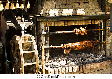 Rotisserie with the meet - Rotisserie with pig and chicken...