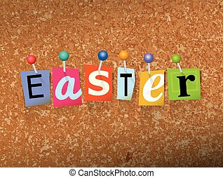 "Easter Pinned Paper Concept Illustration - The word ""Easter""..."