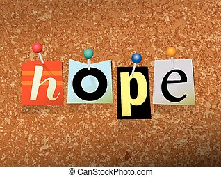 Hope Pinned Paper Concept Illustration - The word HOPE...