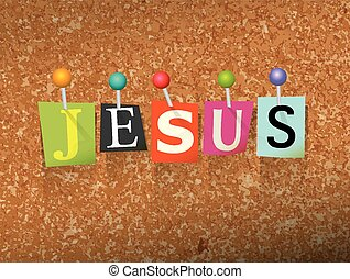 "Jesus Pinned Paper Concept Illustration - The name ""JESUS""..."