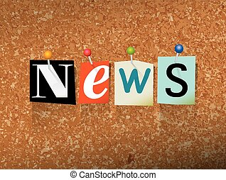 """News Pinned Paper Concept Illustration - The word """"NEWS""""..."""