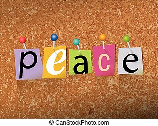 Peace Pinned Paper Concept Illustration - The word PEACE...