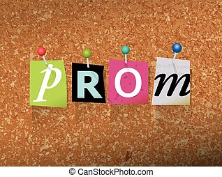 "Prom Pinned Paper Concept Illustration - The word ""PROM""..."