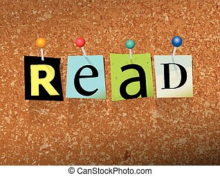 Read Pinned Paper Concept Illustration - The word READ...