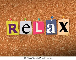 Relax Pinned Paper Concept Illustration - The word RELAX...