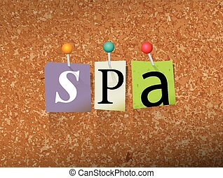 Spa Pinned Paper Concept Illustration - The word SPA written...