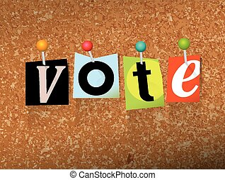 "VOTE Pinned Paper Concept Illustration - The word ""VOTE""..."