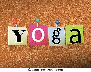 Yoga Pinned Paper Concept Illustration - The word YOGA...