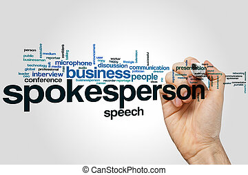 Spokesperson word cloud concept with business speech related...