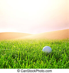 Golfball on the golf course - Golfball in the green grass on...