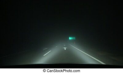 Driving in fog - Driving in on a foggy road at night