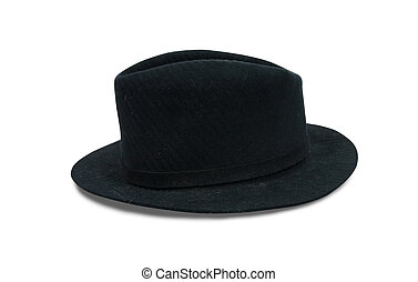 Black fedora hat, isolated on white with clipping path