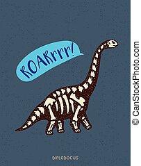 Cartoon diplodocus dinosaur fossil Vector illustration -...