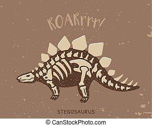 Cartoon stegosaurus dinosaur fossil Vector illustration -...