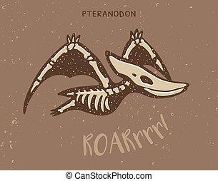 Cartoon pteranodon dinosaur fossil Vector illustration -...