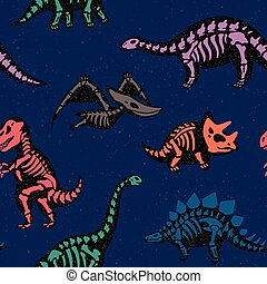 Adorable seamless pattern with funny dinosaur skeletons in...