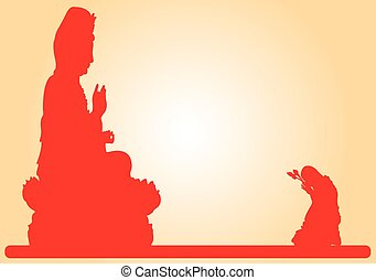 Goddess Of Mercy. - Goddess Of Mercy with a monk paying...