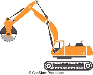 Stump and Stone Cutter Excavator Vector