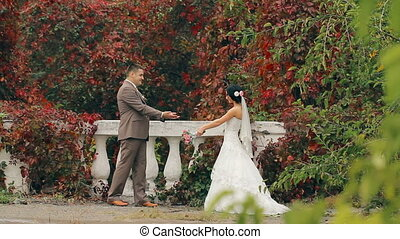 Wedding Couple On Nature - Happy new family love each other