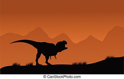 Silhouette of T-Rex in the fields