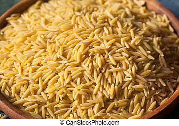 Raw Organic Orzo Pasta Ready for Cooking