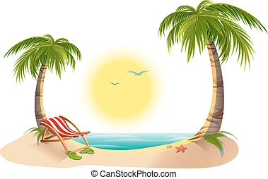 Beach chaise longue under palm tree. Summer vacation in...
