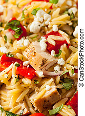 Homemade Chicken Orzo Salad with Peppers and Feta