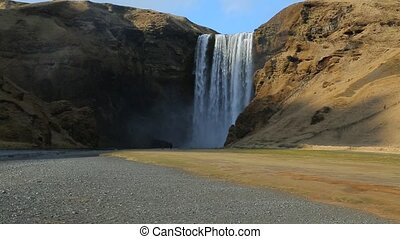 Waterfall in Iceland - Skogafoss waterfall top in Iceland