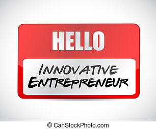 innovative entrepreneur name tag sign illustration design...