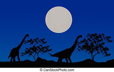 Silhouette of brachiosaurus at the night
