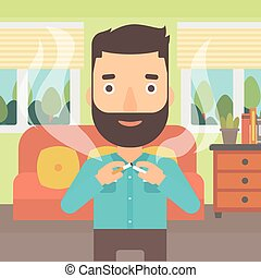 Man quit smoking - A hipster man with the beard breaking the...