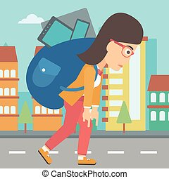 Woman with backpack full of devices. - A sad woman walking...