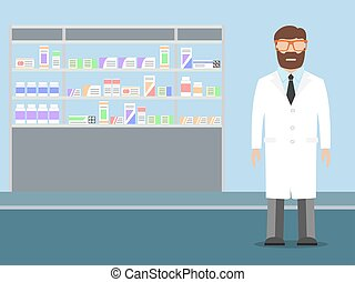 Pharmacist standing near shelves with medications