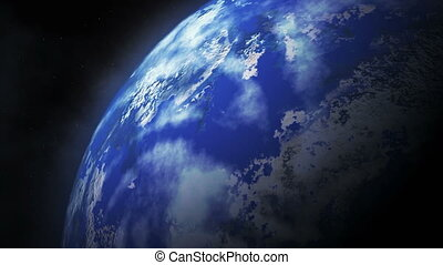 Planet earth in space rotates around sun.