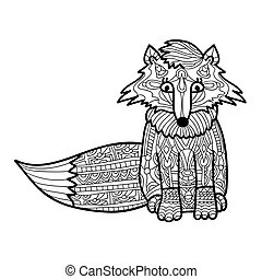 Zantangle fox handmade isolated vector. Collection of animals.