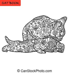 Cat mother and her funny kitten - coloring book for adults -...