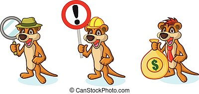 Brown Meerkat Mascot with money, sign and magnifying