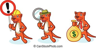 Brown Mustela Mascot with money, sign and magnifying