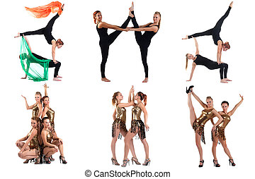 Aerobics and Dance Collage of cute girls posing at camera