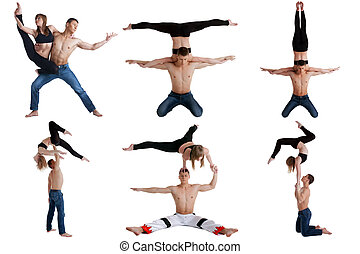 Acrobatics Collection of couple posing at camera -...