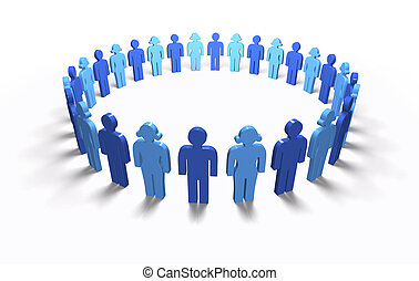 Men Women Blue - Circle, isolated - Lots of blue 3D men and...