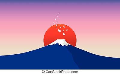 Fuji mountain with falling sakura petals and red sun in...