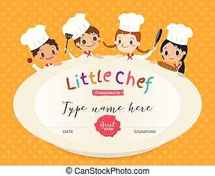 Kids Cooking class certificate design template with little...