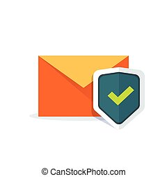 Email security concept, orange e-mail envelope with shield icon