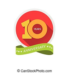 Anniversary 10th label with shadow on circle and number 1 -...